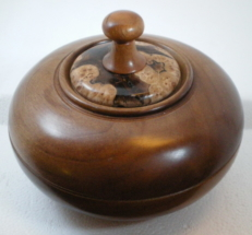 Cherry lidded bowl burl insert