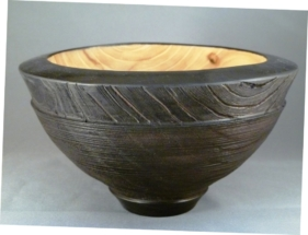 carved bowl black milk paint